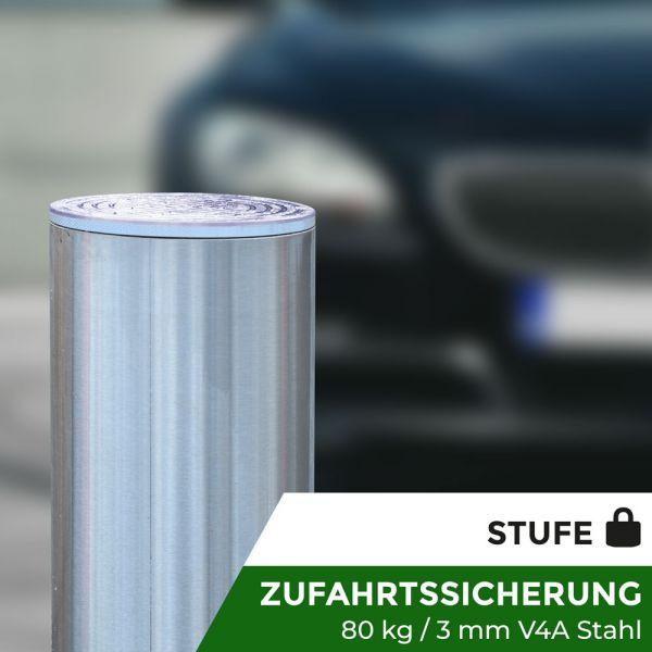 Absperrpoller Edelstahl V4A Pneumatisch 60 cm Hub