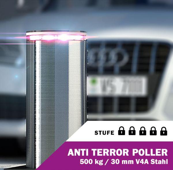 Anti-Terror-Poller Edelstahl V4A Pneumatisch 30 mm